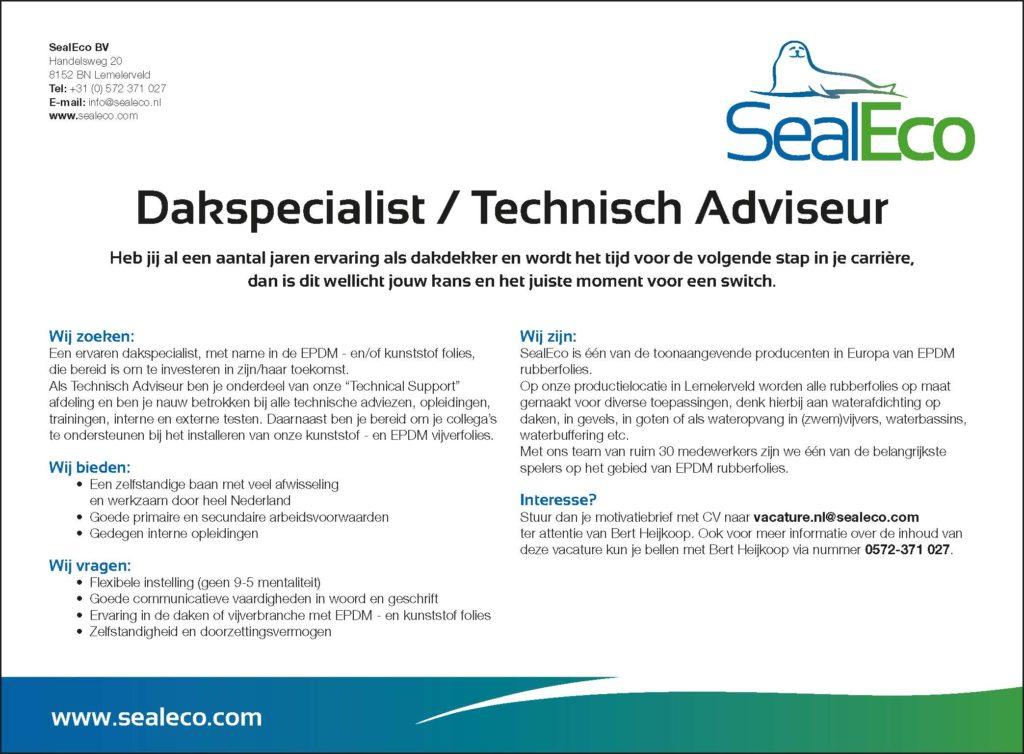 Vacature Dakspecialis/Technisch Adviseur